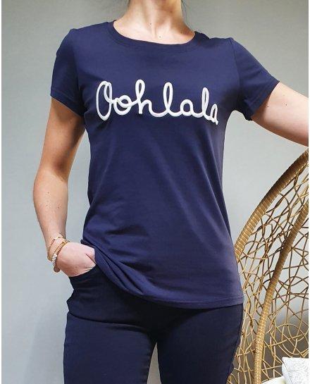 T-Shirt bleu marine oohlala blanc