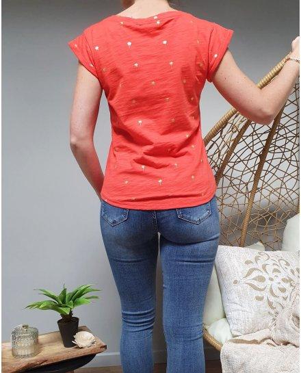 T-Shirt orange palmier doré