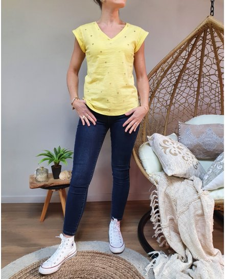 T-Shirt jaune palmier doré