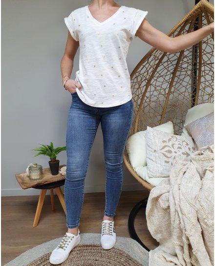 T-Shirt blanc palmier doré