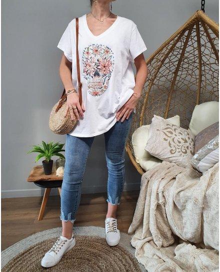 T-Shirt oversize blanc tête de mort fleurie multicolore et strass