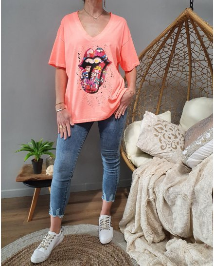 T-Shirt oversize mouth multicolore