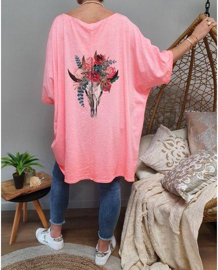 T-shirt oversize crâne de buffle fleuri