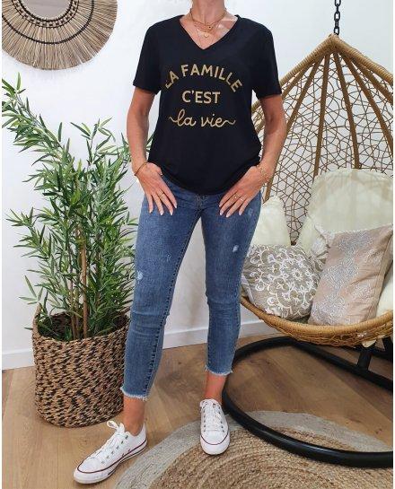 T-shirt La Famille c'est la vie col V Noir