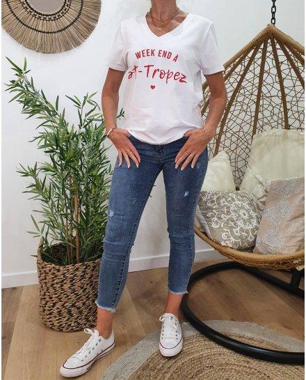 T-Shirt Week-end à St-Tropez col V