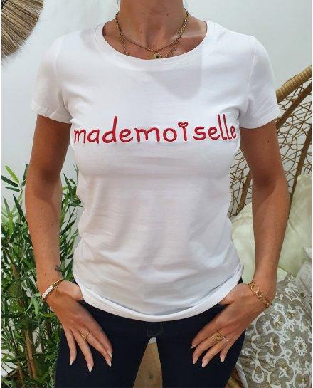 T-Shirt blanc Mademoiselle rouge