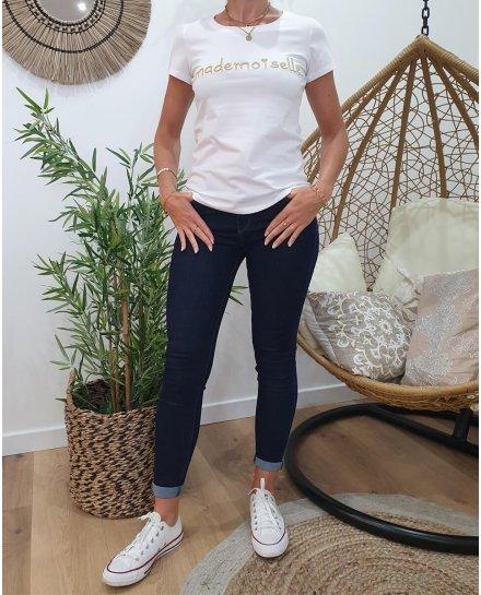 T-Shirt blanc Mademoiselle doré
