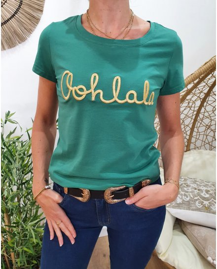 T-Shirt vert Oohlala doré