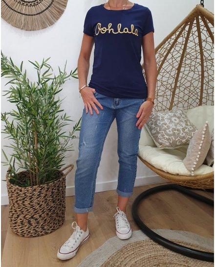 T-Shirt marine Oohlala doré
