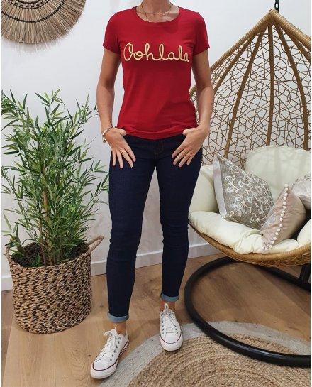 T-Shirt rouge bordeaux Oohlala doré