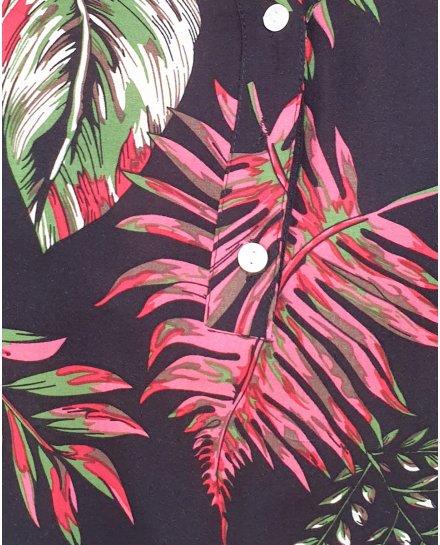 Tunique noire feuillages exotiques verts roses et rouges