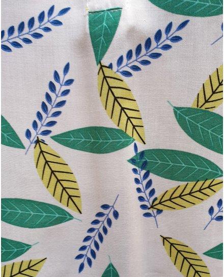 Tunique blanche feuilles vertes et bleues