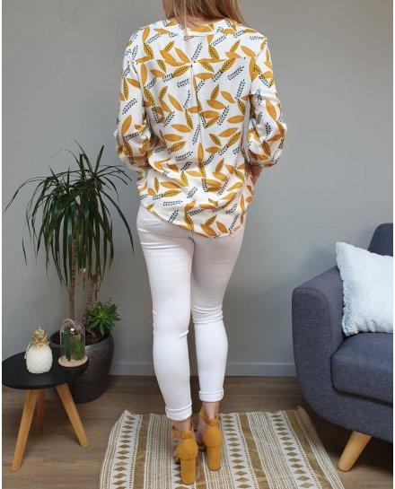 Tunique blanche feuilles jaunes moutardes