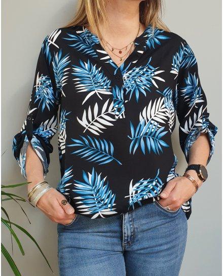 Tunique noire feuilles de palme bleues et blanches