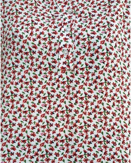 Tunique blanche fleurs rouges liberty