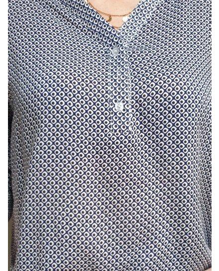 Tunique bleue marine motifs geométriques blancs et gris
