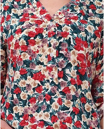 Tunique blanche bouquet de fleurs rouges parmes beiges