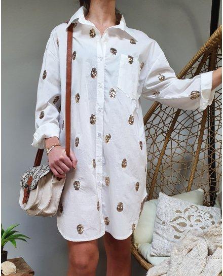 Chemise longue blanche motif tête de mort sequin