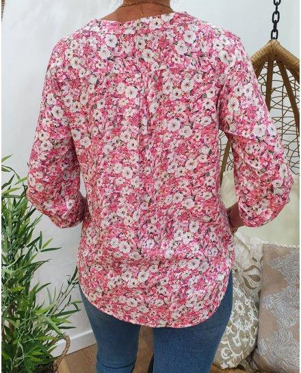 Tunique rose imprimé floral