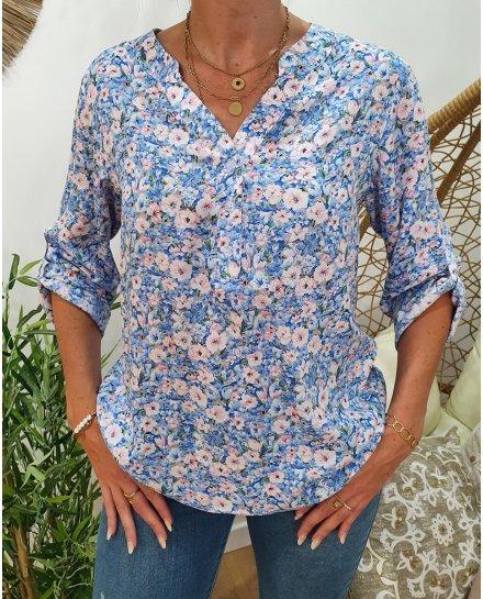 Tunique imprimé floral bleu et rose