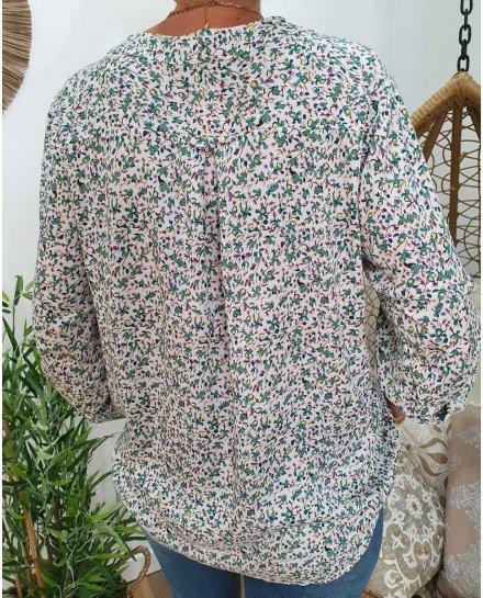 Tunique blanche avec imprimé floral vert et étoiles parmes