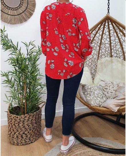 Tunique rouge points blancs et fleurs