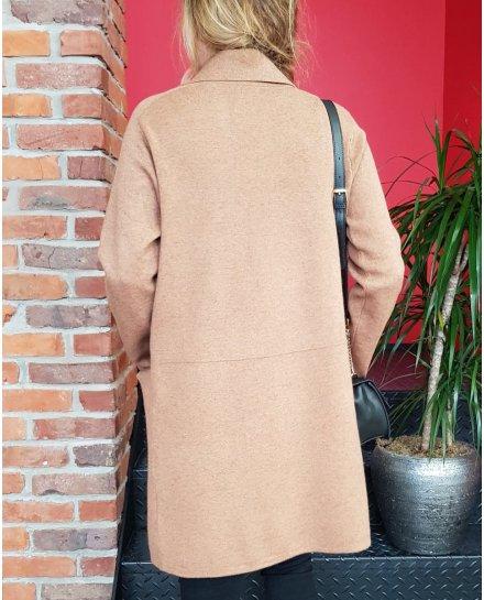 Veste longue camel poches plaquées