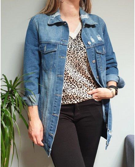 Veste longue en jeans clair déchirures