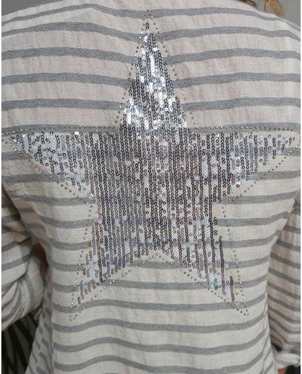 Veste à rayures blanche et grise étoile à sequins argent