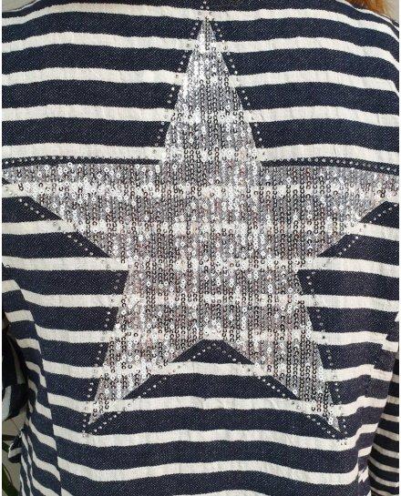 Veste à rayures bleue et blanche étoile à sequins argent