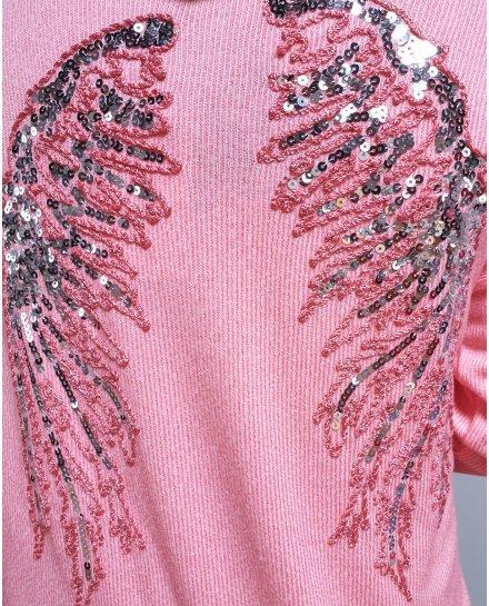 Veste à capuche ailes d'ange à sequins rose