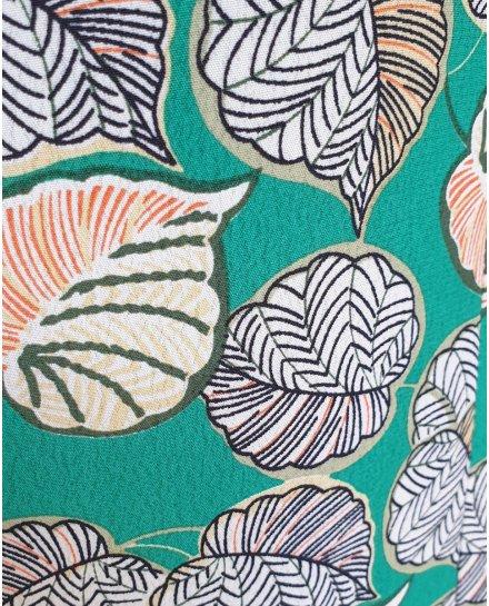 Veste tailleur légère verte feuilles blanches corail et jaunes