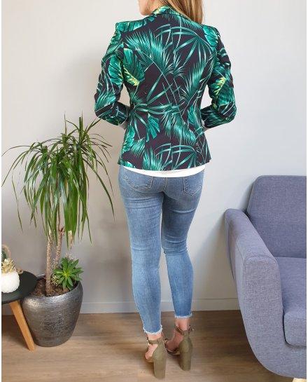 Veste tailleur noire feuilles exotiques vertes