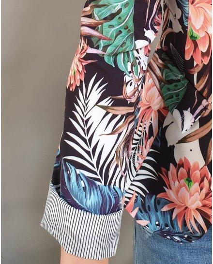 Veste tailleur noire fleurs corail feuilles exotiques multicolores