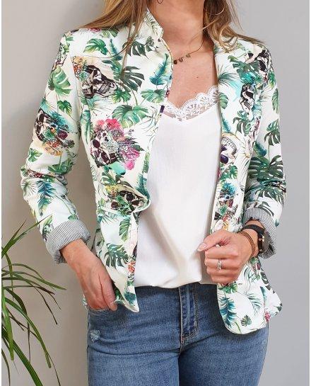 Veste tailleur blanche têtes de mort fleuries et feuillage exotique vert