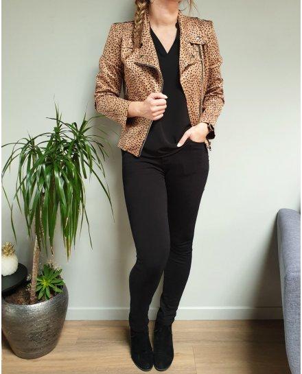 Veste perfecto suédine camel pois noirs