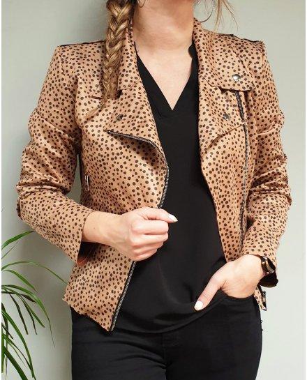 Veste perfecto suédine couleur camel pois noirs