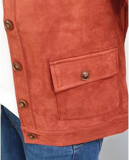 Veste suédine brique à boutons et poches