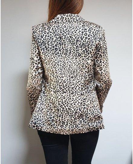 Veste tailleur beige imprimé léopard effet satiné