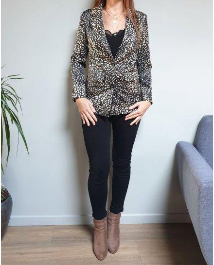 Veste tailleur noire imprimé léopard effet satiné