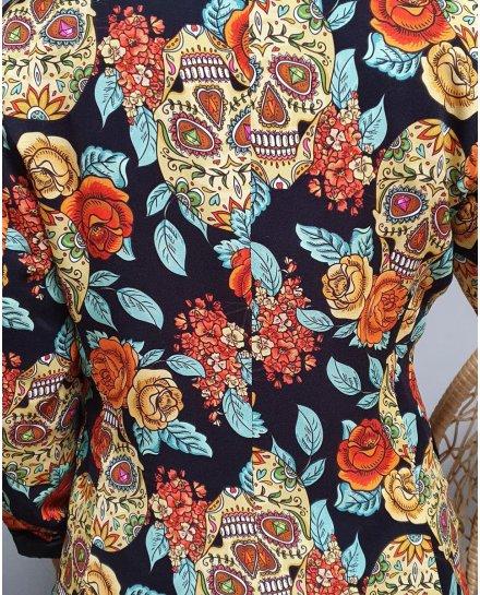 Veste blazer têtes de mort mexicaines et grosses fleurs jaunes oranges