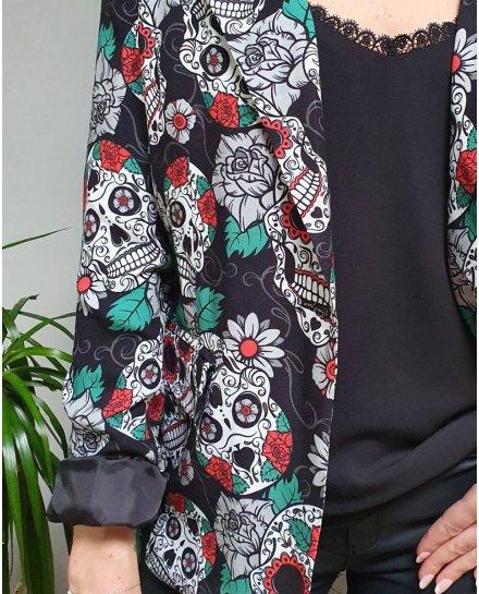 Veste blazer noire têtes de mort mexicaines et grosses fleurs blanches rouges vertes