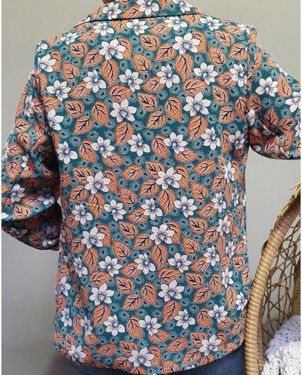 Veste tailleur légère verte feuilles briques beiges et bleues