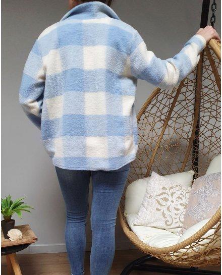 Veste épaisse à carreaux bleu layette et blanche