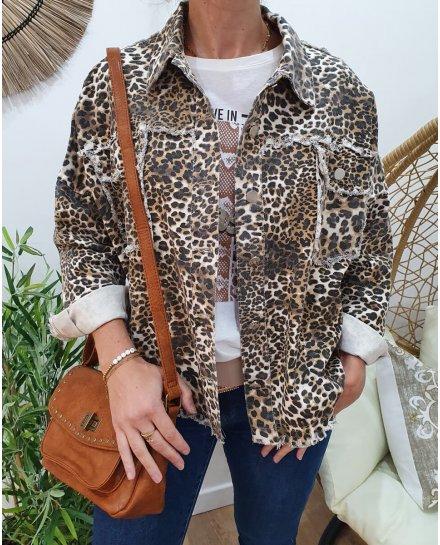 Veste oversize imprimé léopard