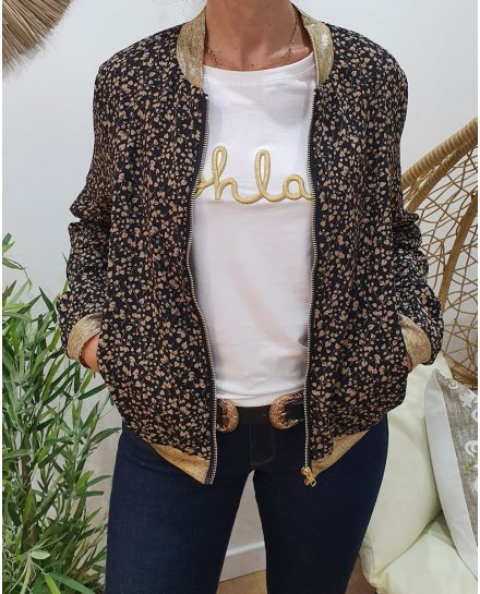 Bombers noir feuillage taupe