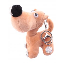 Porte-clés chien beige truffe à strass