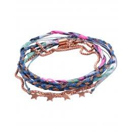 Bracelet multirangs MILE MILA tresse bleue cuivrée tissu multicolore étoiles acier cuivré