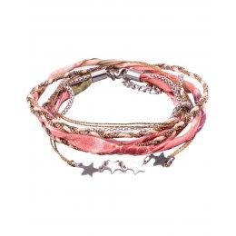 Bracelet multirangs MILE MILA tresse dorée tissu corail multicolore étoiles acier argent