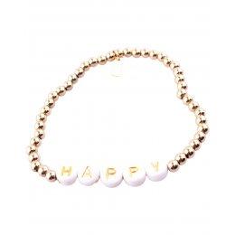Bracelet acier perles dorées Happy